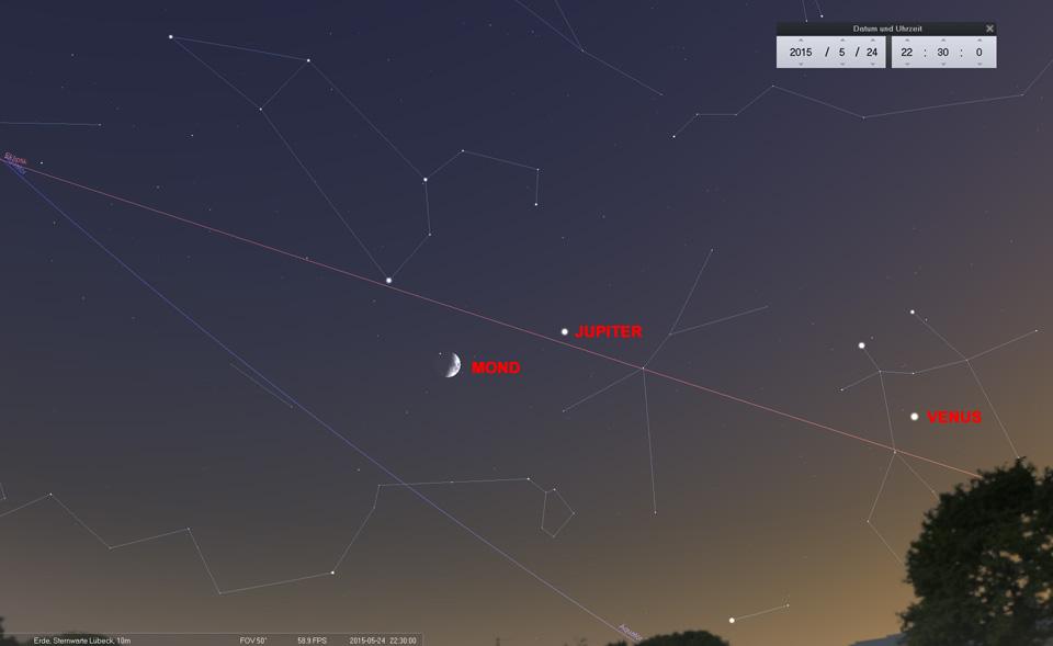 Tag 4: Der Mond nimmt Kurs auf den Löwen und bildet jetzt ein Dreieck mit Jupiter und Regulus