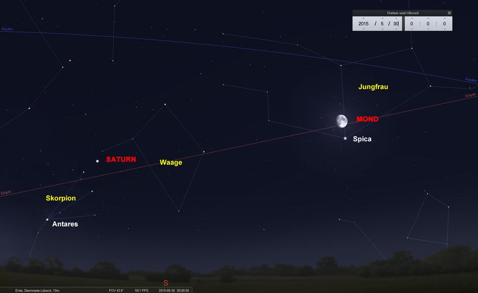 Der Mond zieht nördlich an der Spica vorbei und nimmt Kurs auf Saturn