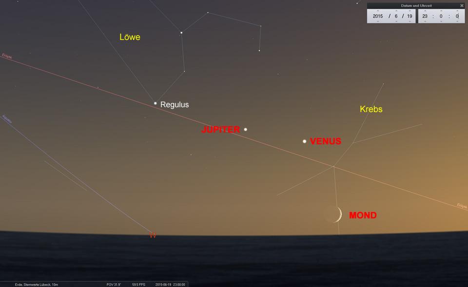 Tief im Westen...: Am 19.06. muss klare Sicht bis zum Horizont sein, um die Mondsichel zu erkennen