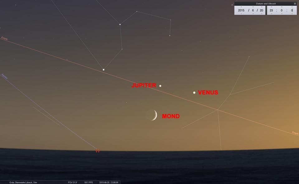 Am 20.03. bilden Venus und Jupiter ein Dreieck mit dem Mond und eine Linie mit Regulus, Hauptstern im Löwe