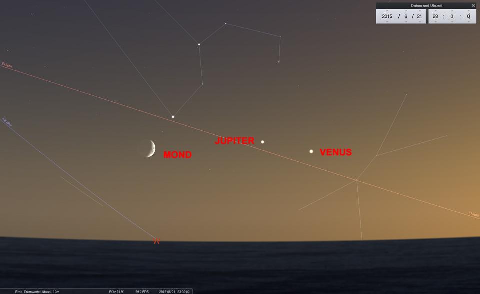 21.06.: Der Mond zieht südlich am Regulus vorbei und setzt sich ab. Venus nähert sich weiter dem Jupiter an - am 01.07. kommt es zur Konjunktion zwischen den beiden hellen Planeten.