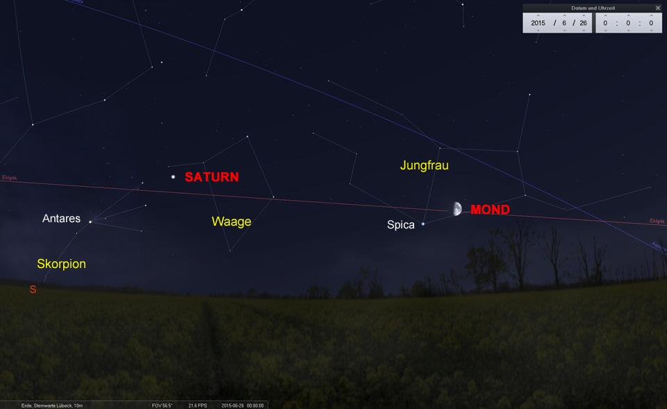26.06.: Der zunehmende steht Mond im Sternbild Jungfrau in der Nähe des Hauptsterns Spica