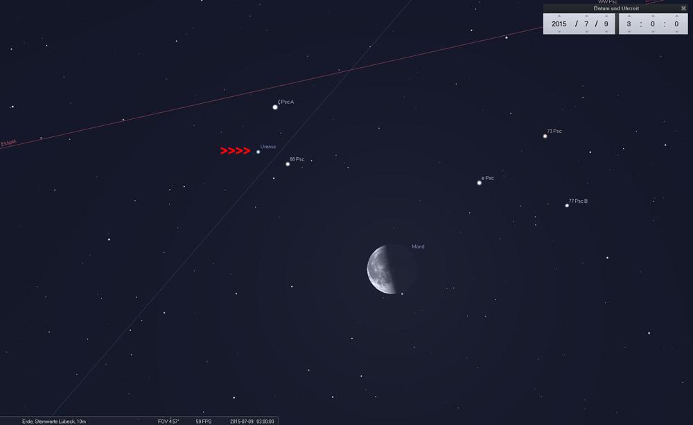 09.07.: Links oberhalb des Mondes ist ein kleines Dreieck im Fernglas zu sehen. Uranus ist der schwächste der drei Punkte.