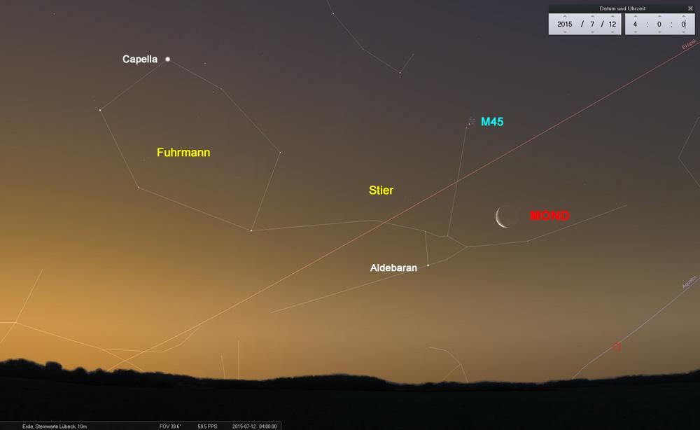 12.07.: Reizvoller Anblick in der Morgendämmerung. Die schmale Mondsichel im Sternbild Stier