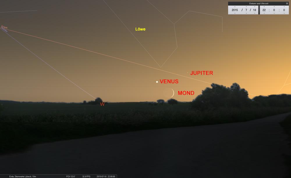 18.07.: Nur wenige Minuten sind die drei Himmelskörper sichtbar, bevor sie in der hellen Dämmerung untergehen