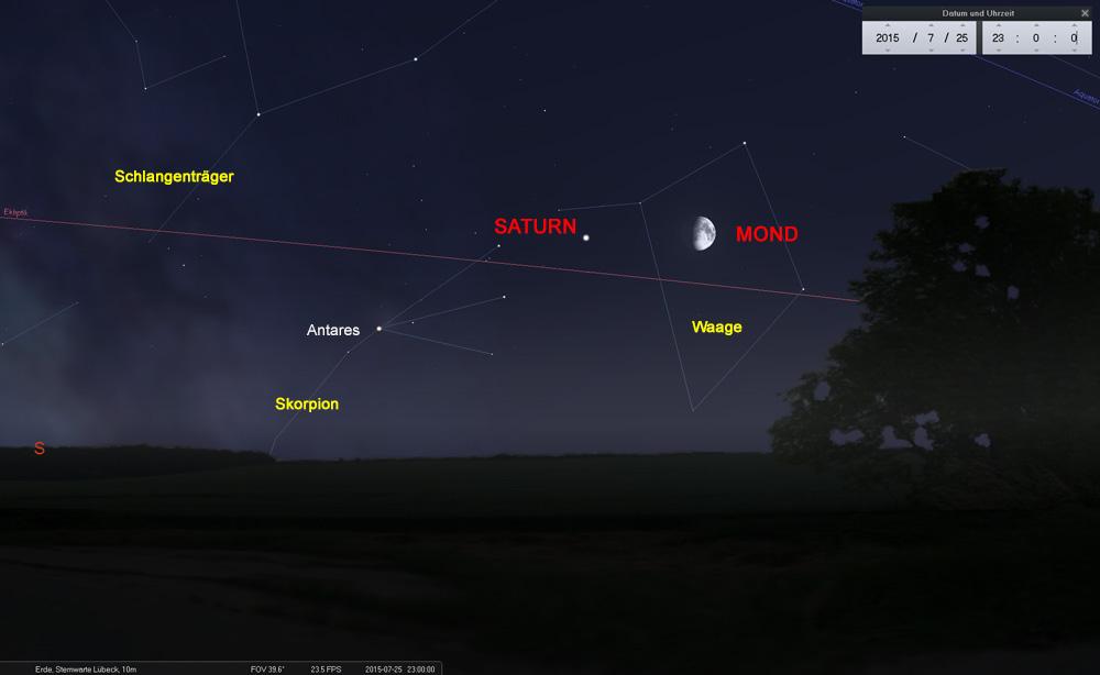 25.07.: Der Mond in Horizontnähe ist immer ein beeindruckender Anblick