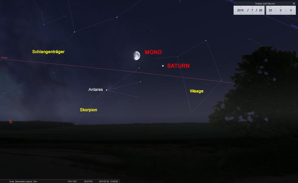 26.07.: Nur kurz hält sich der Mond im Skorpion auf und erreicht bald das Sternbild Schlangenträger