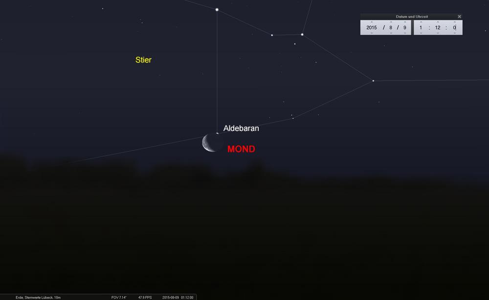 09.08. - 01:12 Uhr: Der Mond gibt den Blick auf Aldebaran wieder frei