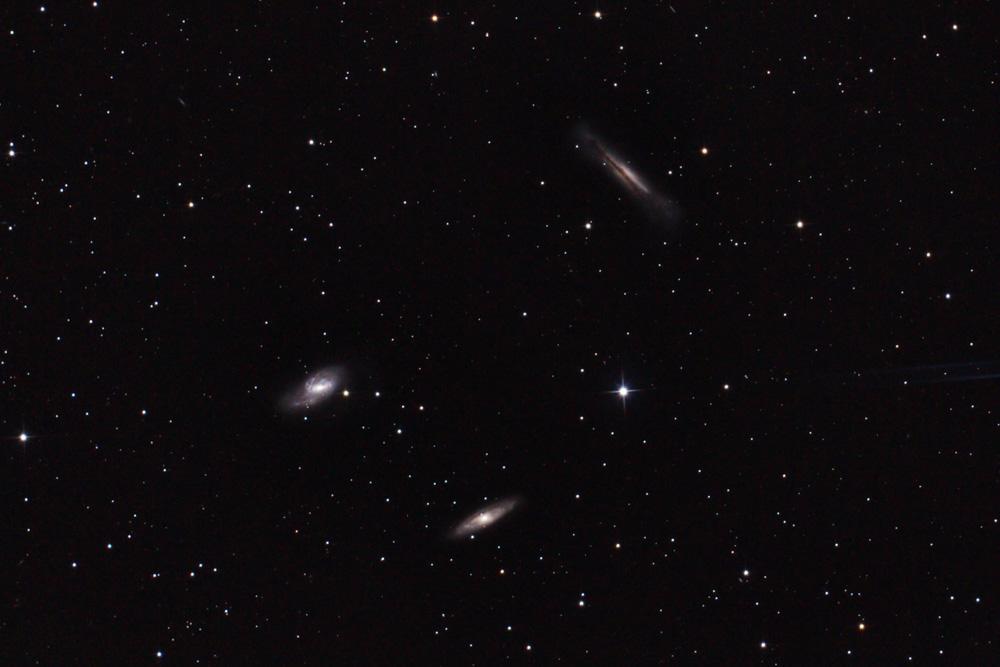 """Die drei Galaxien M 65, M 66 und NGC 3628 bilden im Sternbild Löwe ein attraktives Motiv, das so genannte """"Leo-Triplett"""". (Tim Quandt)"""