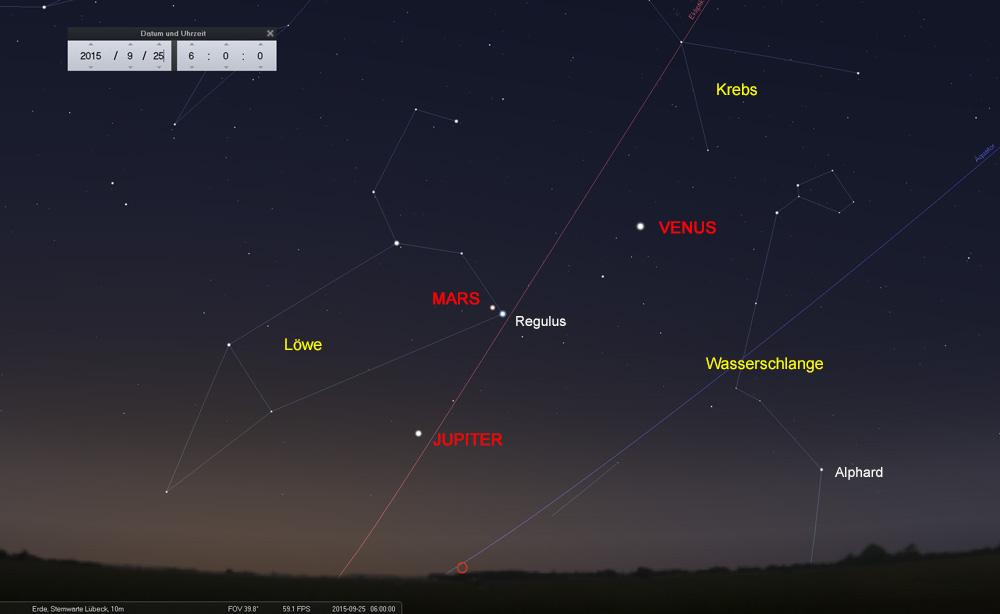 25.09.: Was für ein Anblick: Die Planeten beherrschen den Morgenhimmel
