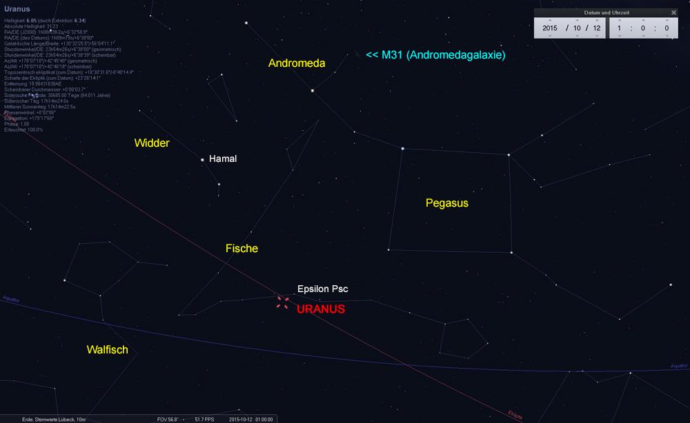 12.10.: Uranus in Opposition zur Sonne