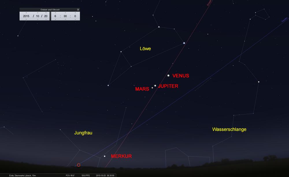 """20.10: Die Reihenfolge hat sich geändert - Mars bewegt sich jetzt """"unterhalb"""" des Jupiter"""
