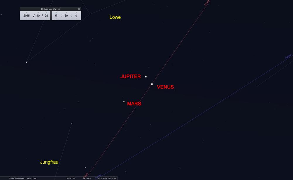 26.10.: Planetentrio im Grenzbereich der Sternbilder Löwe und Jungfrau