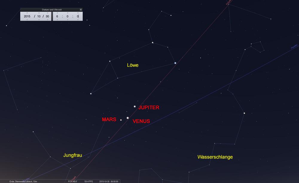 30.10.: Die Venus hat den Mars fast eingeholt
