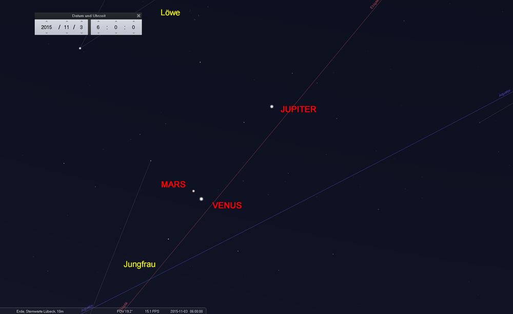 03.11.: Venus und Mars sind im Sternbild der Jungfrau angekommen