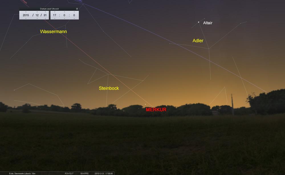 31.12.: Merkur tief am Himmel. Altair im Adler sollte auch schon sichtbar sein