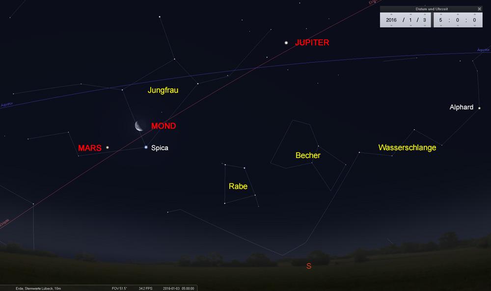 03.01.: Der Mond oberhalb der Spica mit Kurs auf Mars