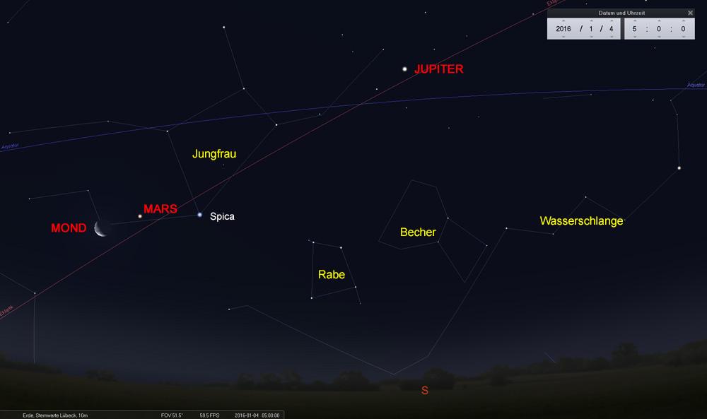 04.01.: Mond, Mars und Spica dicht zusammen, Jupiter ist auch in der Nähe