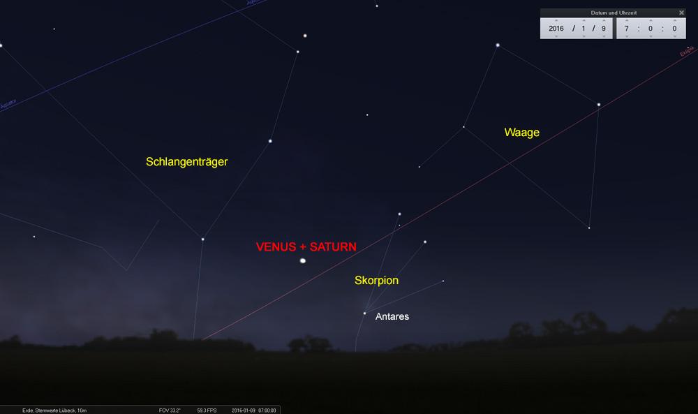 09.01.: Venus und Saturn erscheinen fast als ein Stern...