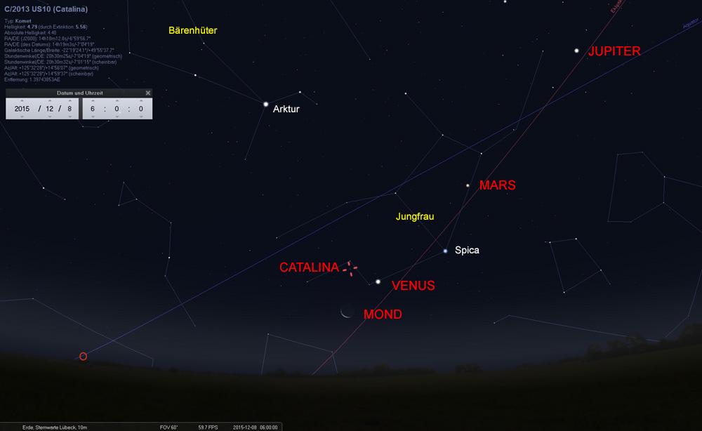 08.12: Dank Mond und Venus ist Catalina mit dem Fernglas relativ einfach zu finden.