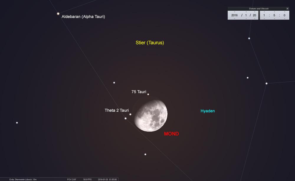 20.01.: Der Mond bedeckt fast zeitgleich zwei Sterne der Hyaden
