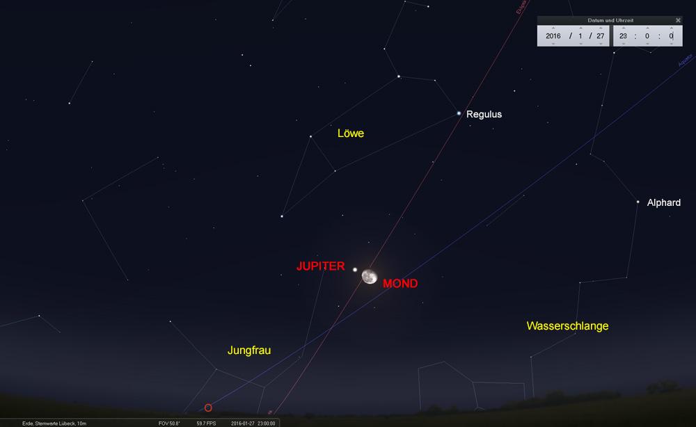27.01.: Mond und Jupiter gehen gemeinsam im Osten auf