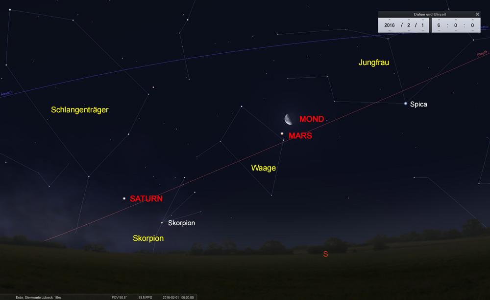 01.02.: Zwei kosmische Nachbarn begegnen sich im Sternbild der Waage