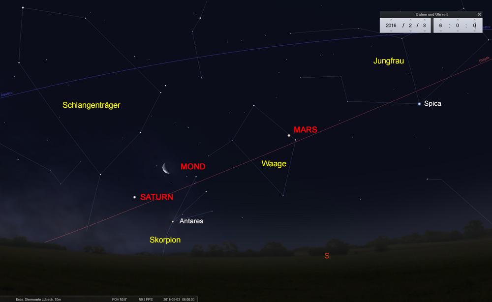 03.02.: Der Mond durchquert den Skorpion und nähert sich Saturn...