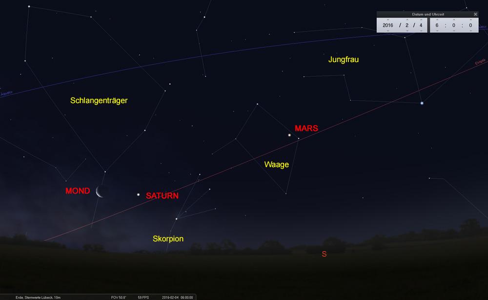 04.02.: und befindet sich heute bereits im Sternbild Schlangenträger