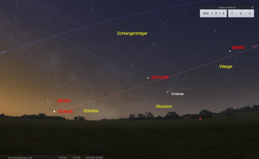 08.02.: Die Planetentour des Mondes endet heute bei der Venus