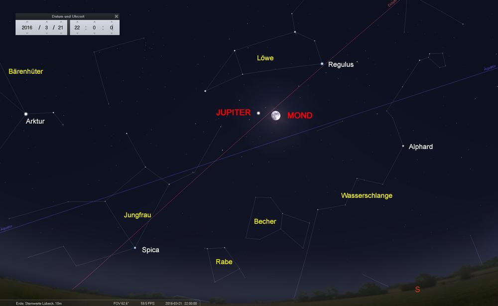 21.03.: Kurz vor Vollmond (23.03.) wird der Riesenplanet Jupiter erreicht