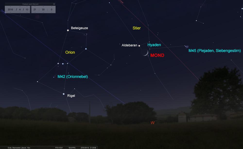 10.04.: Der Mond durchquert die Hyaden und...