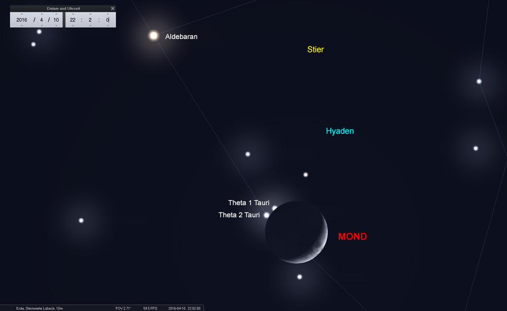 ...bedeckt dabei den Doppelstern Theta 1+2 Tauri fast gleichzeitig