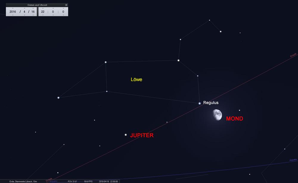 16.04.: Der Mond unterhalb des Regulus auf dem Weg zum...