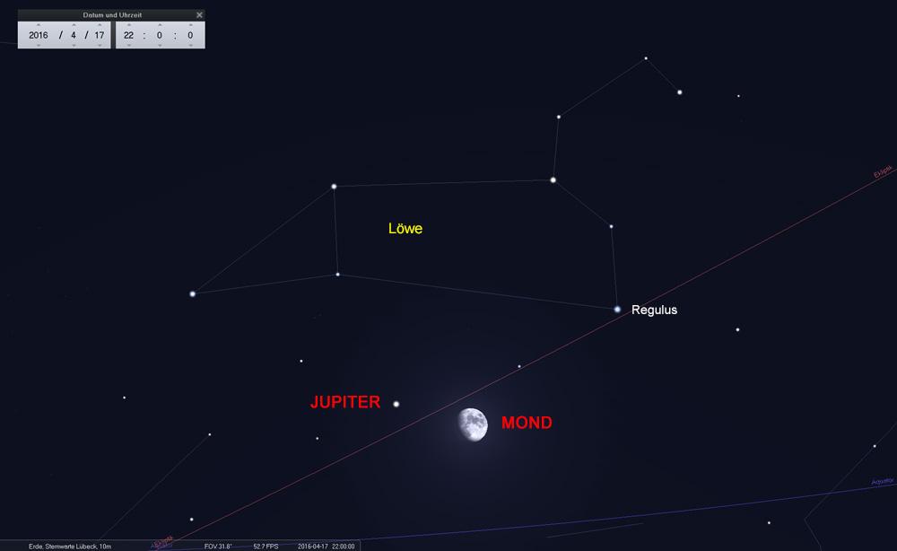 ...Jupiter, der mit seinem ruhigem, gelben Licht zurzeit den Abendhimmel dominiert.