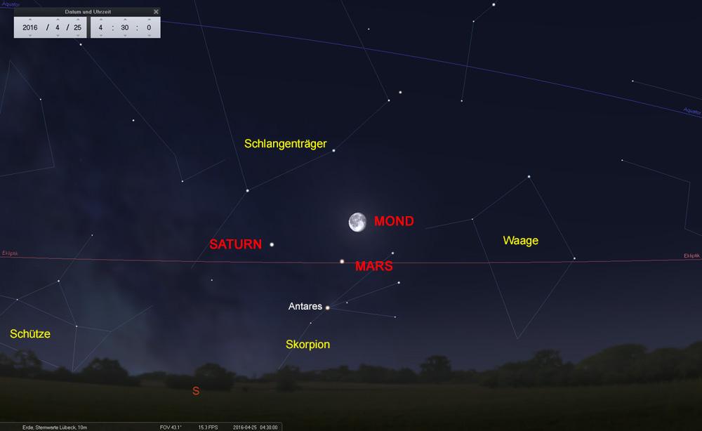 25.04.: Der Mond trifft im Sternbild Skorpion den rötlichen Mars...