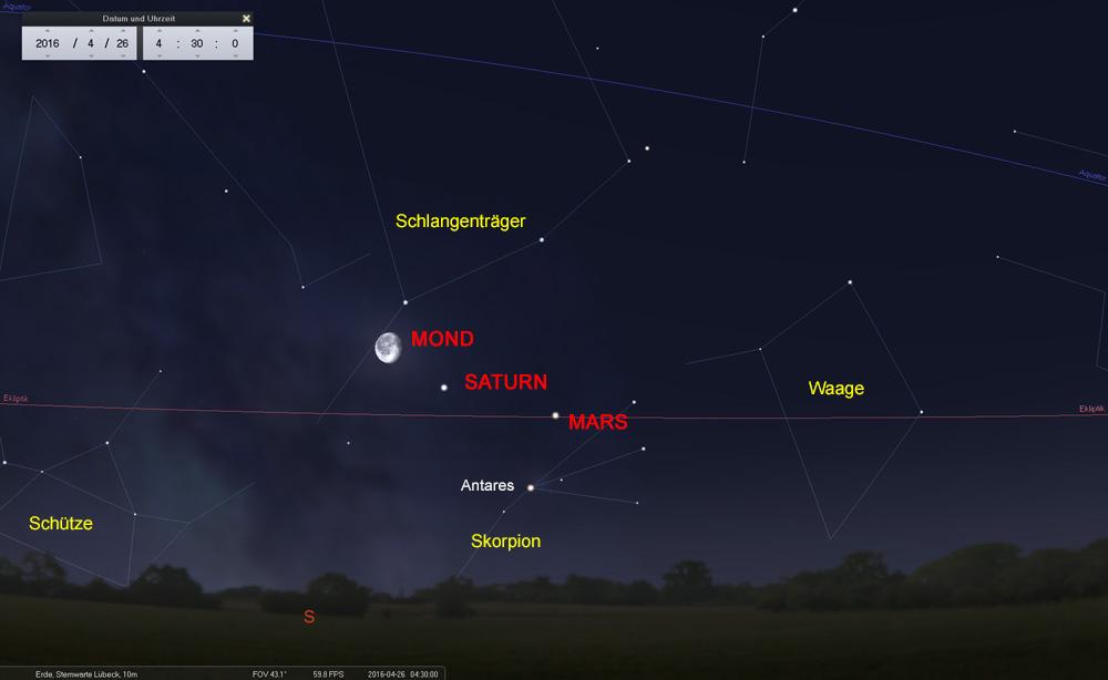 ...und anschließend den Saturn im Sternbild des Schlangeträgers