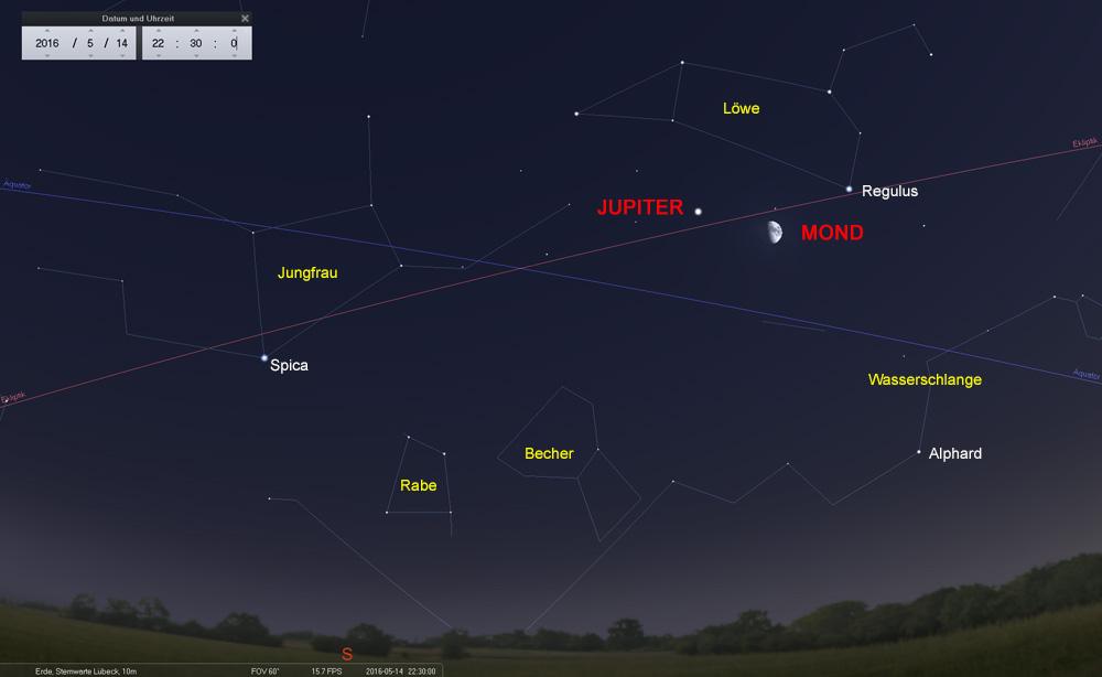 14.05.: der zunehmende Halbmond zwischen Jupiter und Regulus