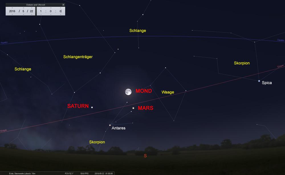 22.05.: Ein sehenswertes Viereck zur Opposition des Mars