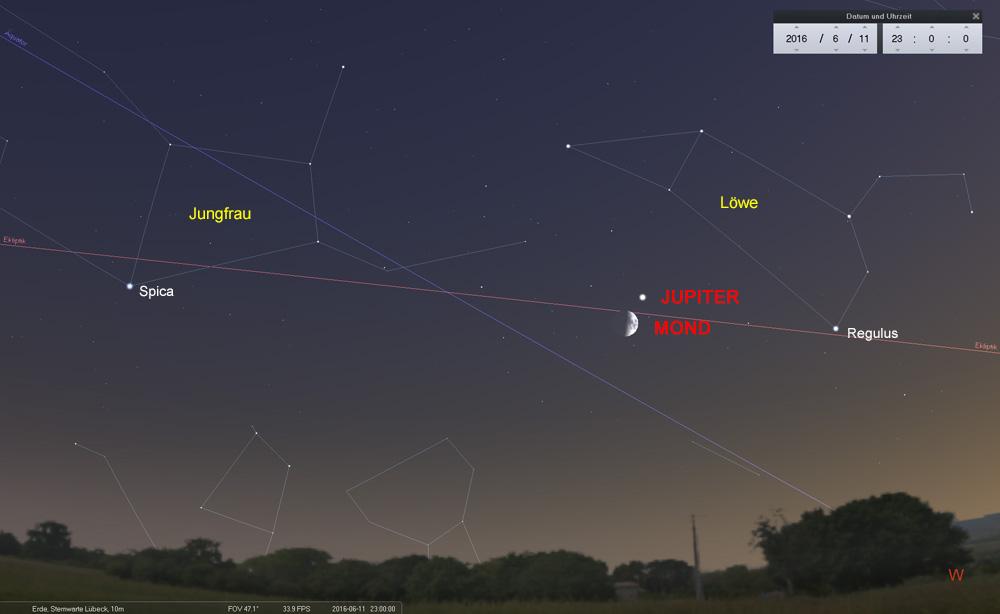11.06.: Mond und Jupiter am Westhimmel