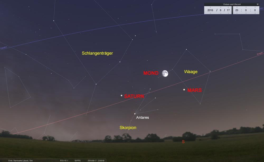 17.06.: Mond zwischen Mars und Saturn...