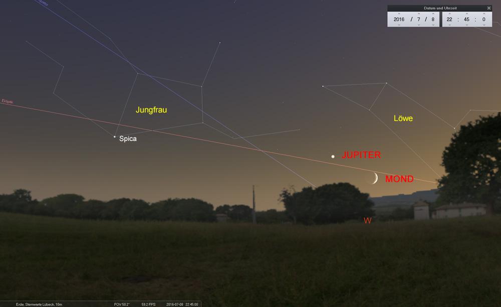 08.07.: Blick nach Westen - Mond und Jupiter in der hellen Dämmerung