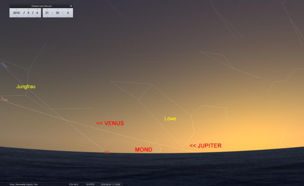 04.08.: Adleraugen können Mond, Venus und Jupiter entdecken...