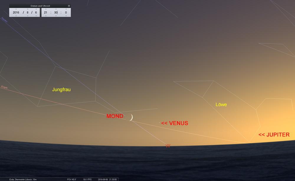 06.08.: ...zwei Tage später ist der Mond deutlich zu sehen