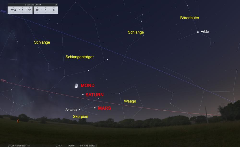 12.08.: Mond, Saturn und Mars in einer Linie