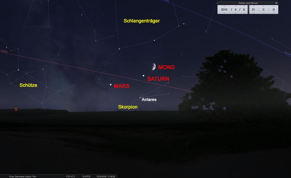 08.09.: Der Mond erreicht den Saturn...