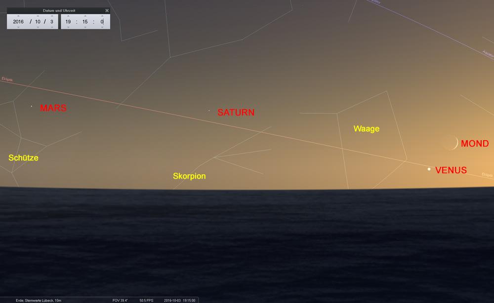 03.10.: Planetenkette in der Abenddämmerung