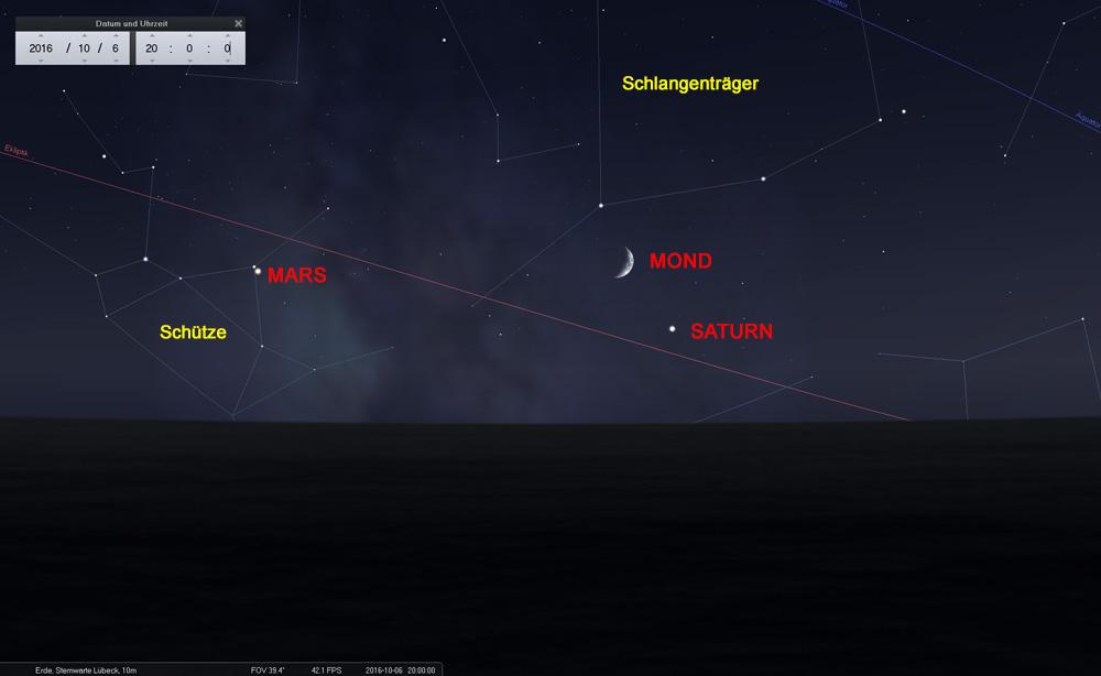06.10.: Mond und Saturn im Sternbild Schlangenträger