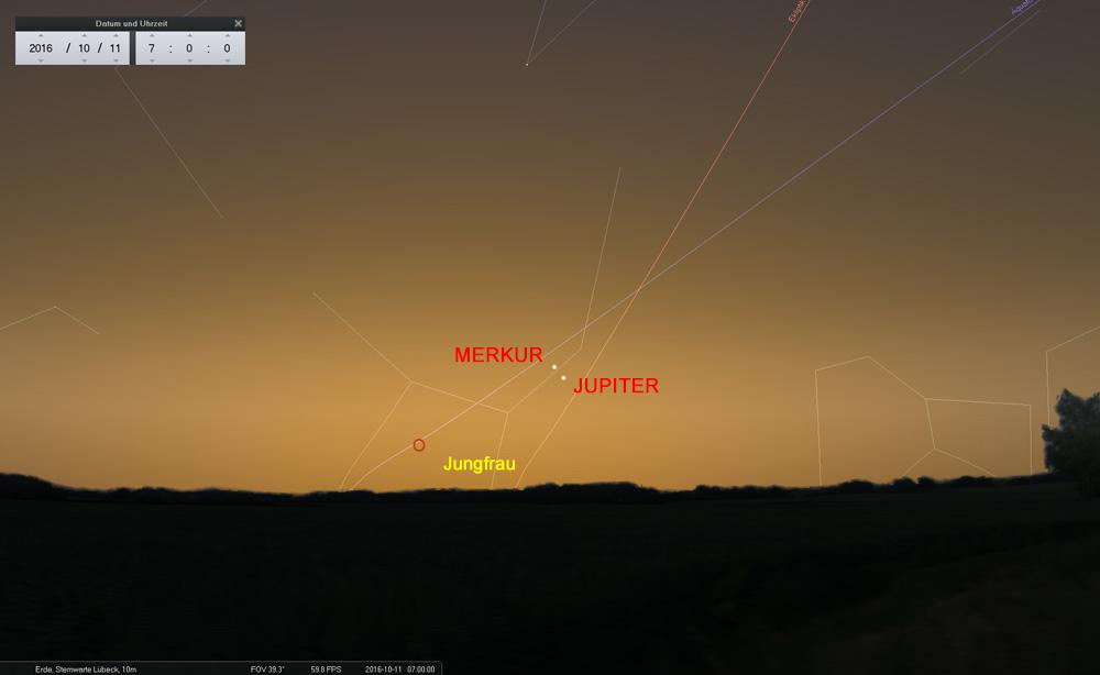 11.10.: Merkur beendet seine Morgensichtbarkeit, Jupiter startet eine neue Runde...