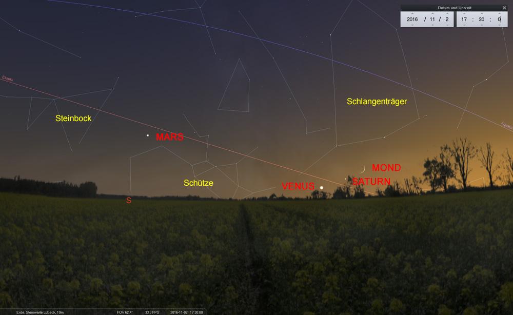 02.11.: Mond bei Venus und Saturn tief in der Abenddämmerung